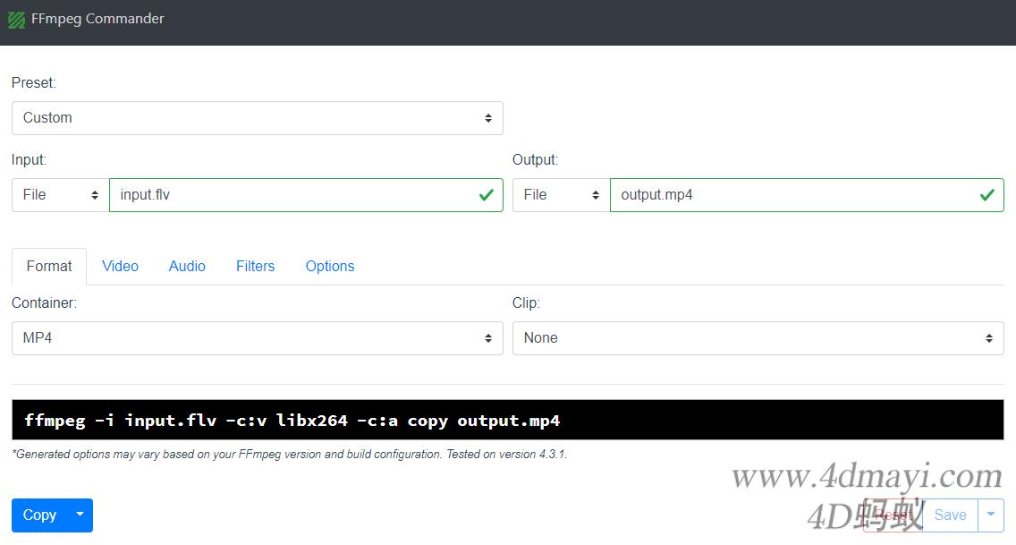 ffmpeg-commander 常见FFmpeg命令生成器 Web UI