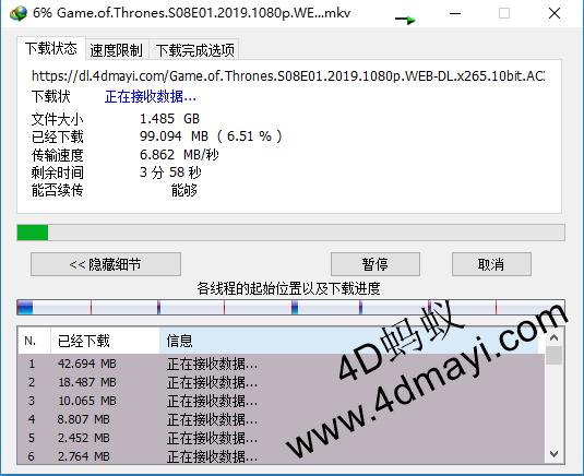 权力的游戏第八季无删减下载(1080p中英双语字幕)-4D蚂蚁整理
